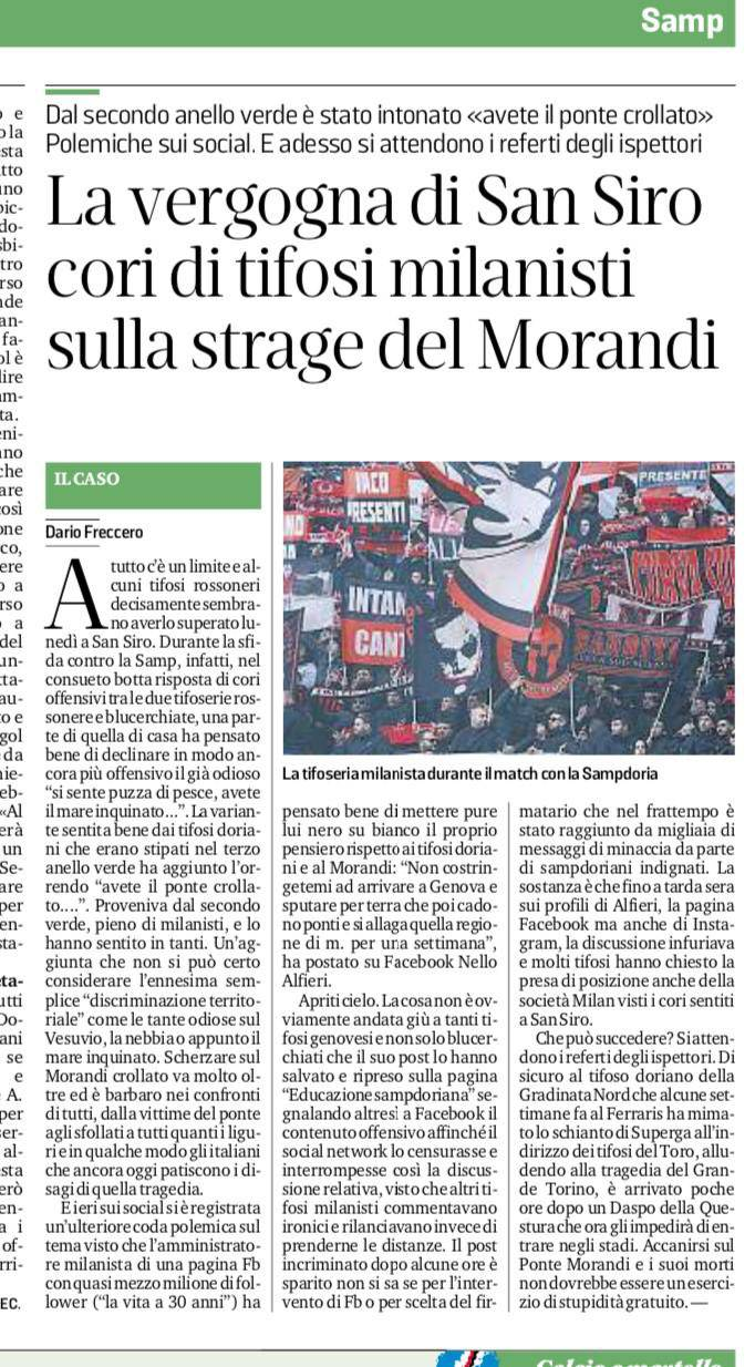 Il Secolo XIX cori Ponte Morandi Milan-Sampdoria