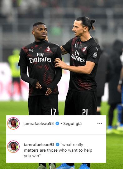 Leao Instagram Ibrahimovic Milan Sampdoria