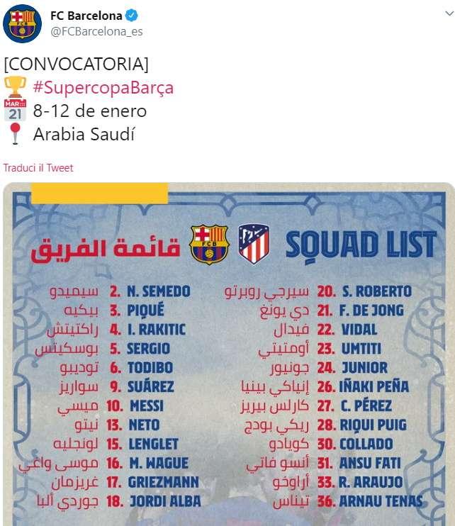 Barcellona convocati