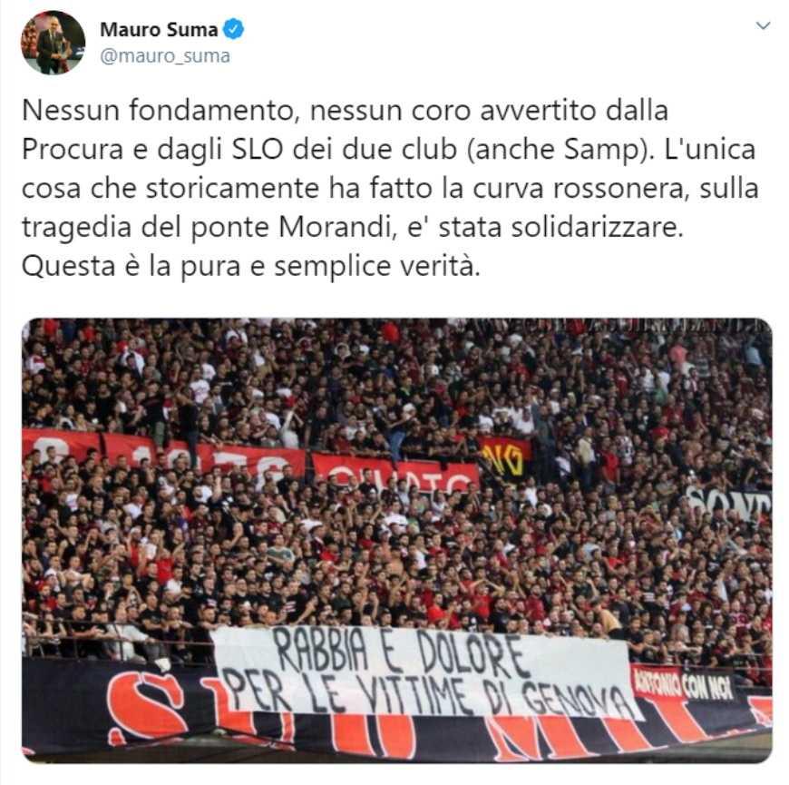 Milan-Sampdoria, 'Il Secolo XIX' rilancia: cori sul ponte Morandi da San Siro