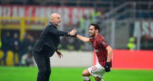 Hakan Calhanoglu Stefano Pioli AC Milan