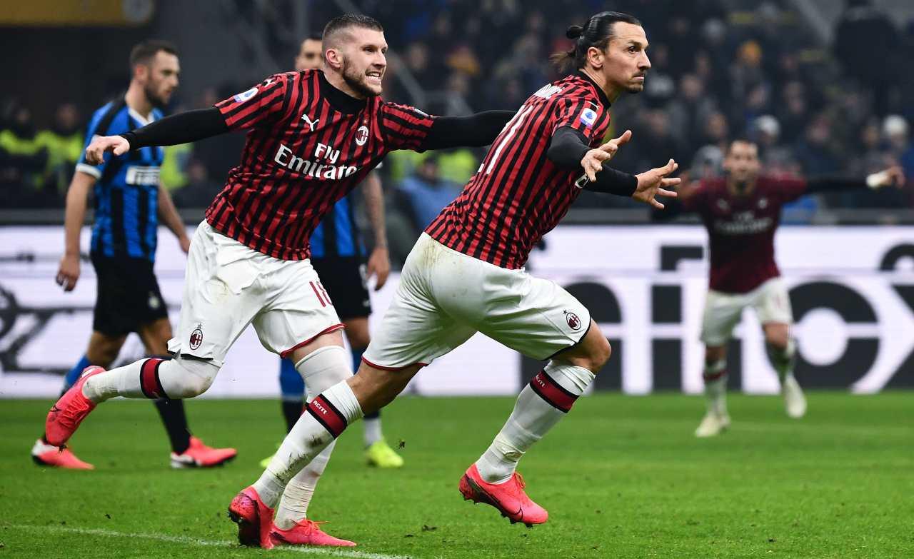 Ibrahimovic Rebic gol derby Inter Milan