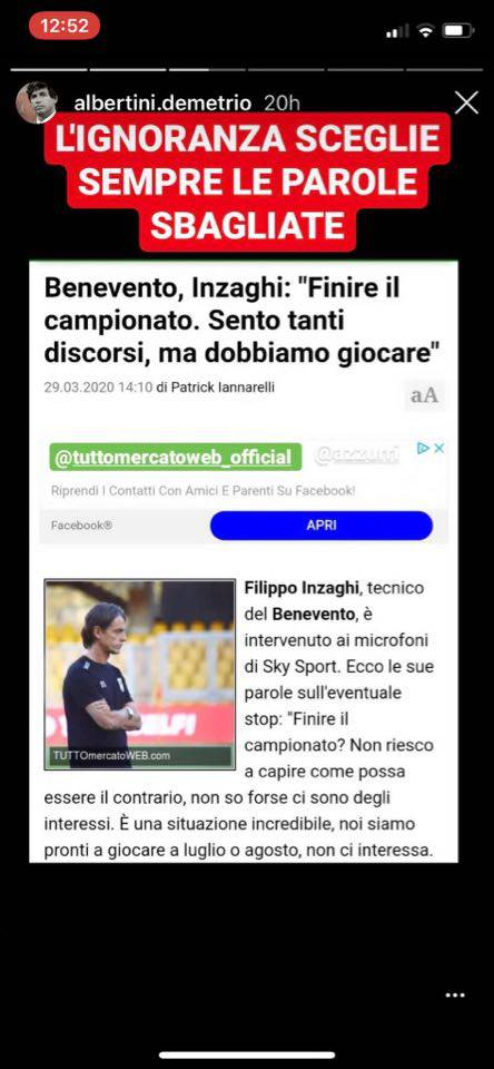 Albertini attacca Inzaghi