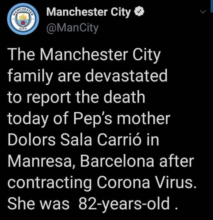 mamma Pep Guardiola morta per coronavirus