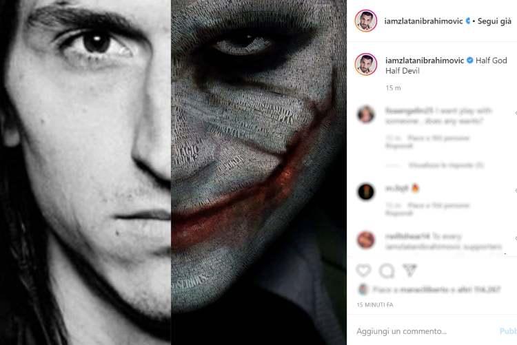 Zlatan Ibrahimovic messaggio Instagram