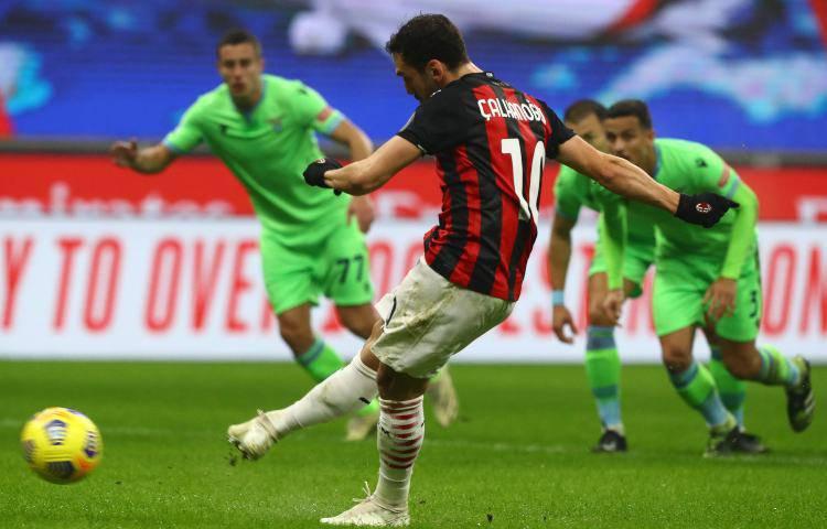 Hakan Calhanoglu, rigore contro la Lazio