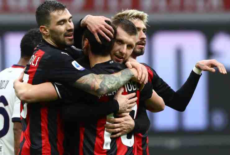 I calciatori del Milan esultano a un gol (© Getty Images)