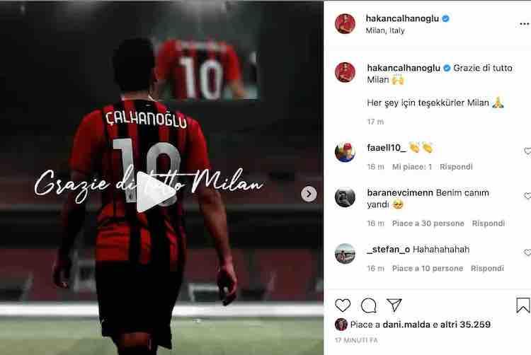 Calhanoglu su Instagram