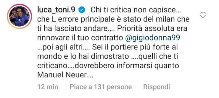 Commento Luca Toni