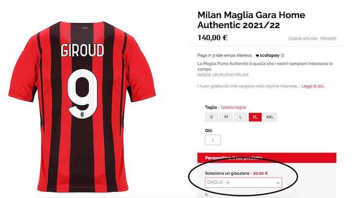 Giroud Numero Maglia (AcMilan.com)